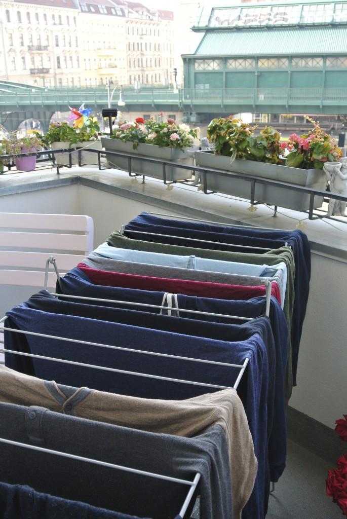 Wäsche genießt Blick vom Balkon
