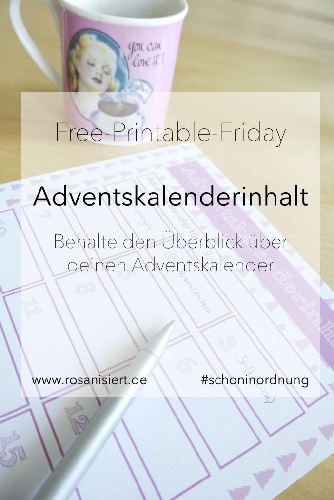 Adventskalenderinhalt Free Printable Rosanisiert