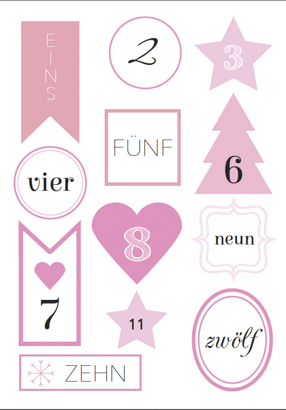 free printable friday zahlen f r den adventskalender rosanisiert. Black Bedroom Furniture Sets. Home Design Ideas
