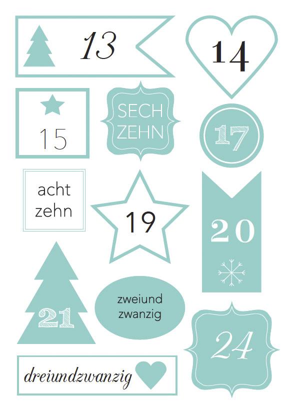Free-Printable Zahlen für den Adventskalender zum Ausdrucken