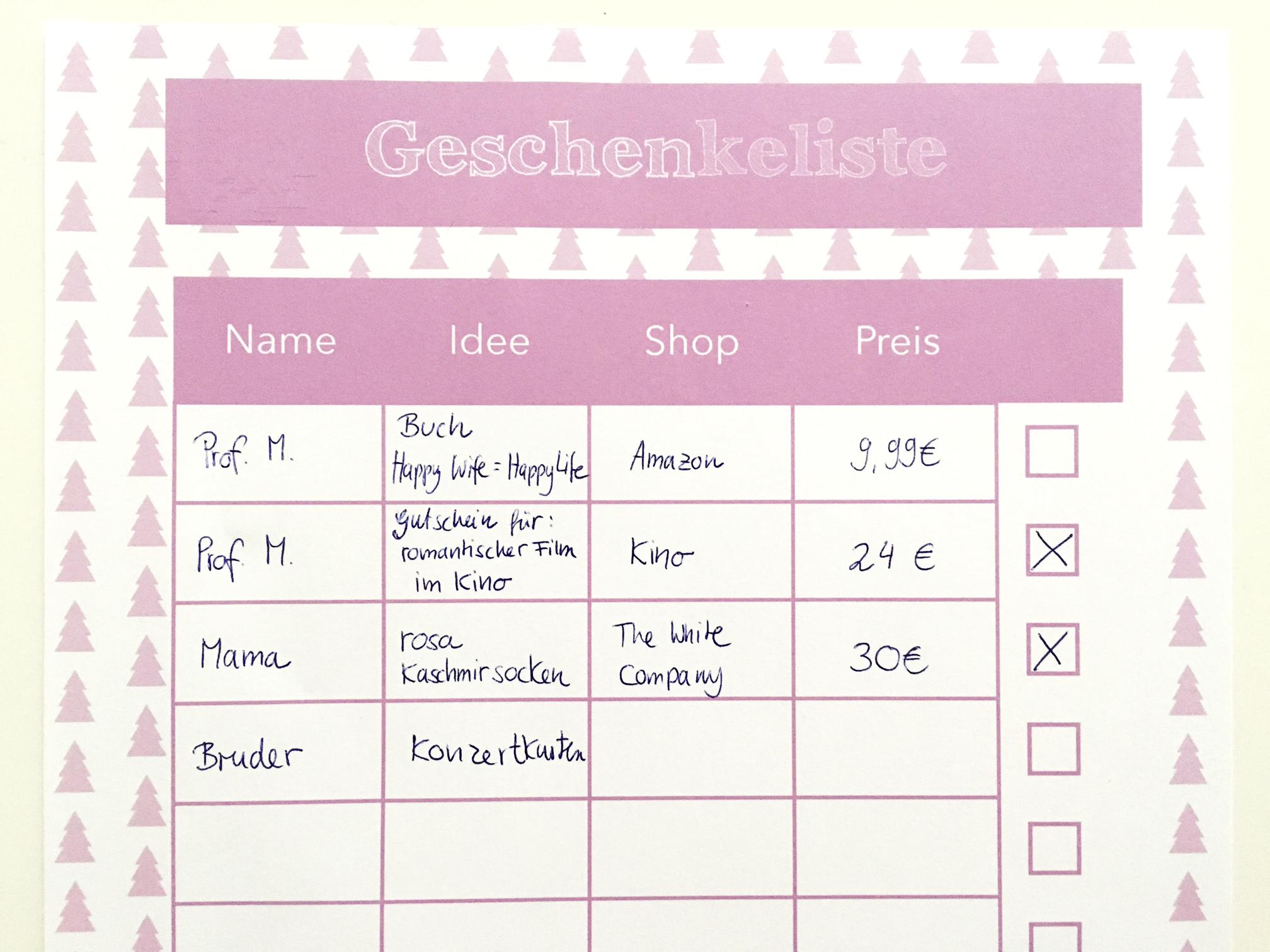 Mit dieser Geschenkeliste behaltet ihr den Überblick über eure Geschenke! Free Printable Friday bei Rosanisiert! Dem Blog über Ordnung, Putzen und Glamour für Unordentliche