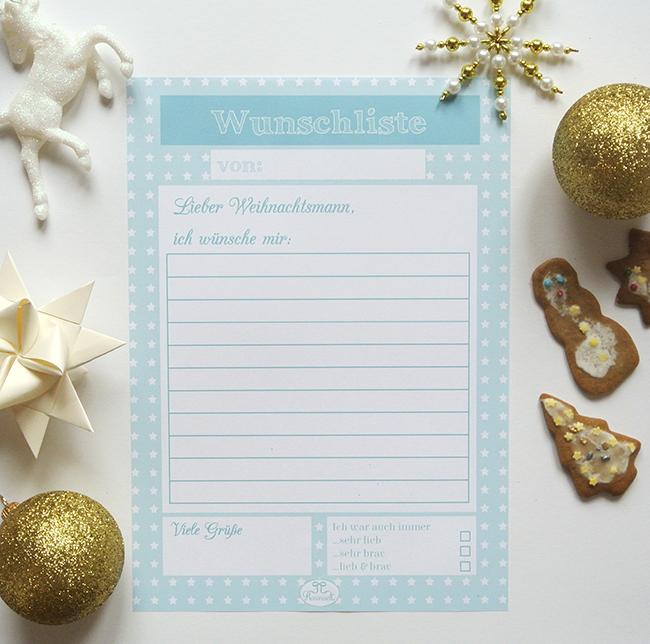 Heute ist wieder Free-Printable-Friday und ich habe eine tolle Wunschliste für euch erstellt. Es gibt sie in rosa und türkis einmal für den Weihnachtsmann oder das Christkind. #schoninordnung