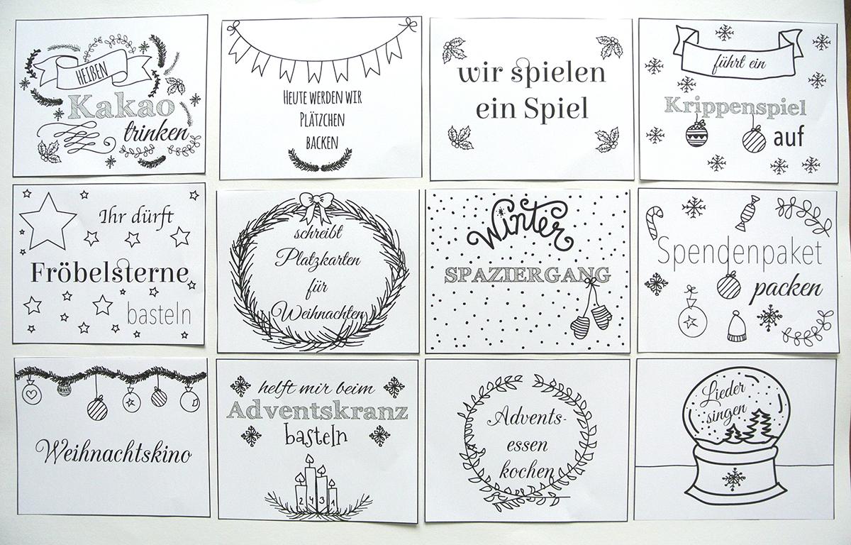 Adventskalender füllen für Kinder mit Gutscheinen - mit kostenloser Vorlage
