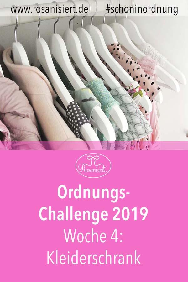 In Woche 4 der Rosanisiert Ordnungs-Challenge schaffen wir richtig Ordnung im Kleiderschrank. Kleidung aussortieren, falten und alles ordentlich einräumen. Natürlich widmen wir uns auch dem Schrank der Kinder. Macht also alle mit!