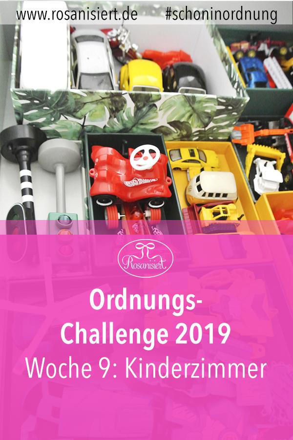 Ordnung im Kinderzimmer - in dieser Woche der Rosanisiert-Ordnungs-Challenge räumen wir gemeinsam das Kinderzimmer auf. Hier findest du viele Tipps zum Aufräumen und Ausmisten des Kinderzimmers, für die Aufbewahrung von Spielzeug und Ordnung mit Kindern.